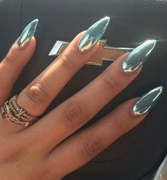 10 Stunning Chrome Nail Ideas To Rock The Latest Nail Trend: #4. Shiny Turquoise Chrome