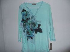 Blue Canyon brand women's blouse in size 2X green w/flowers (NWT's #BlueCanyon #Blouse #EveningOccasion