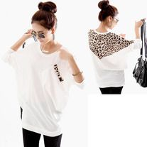 Korean Fashion and Mix-Matched Style Leopard Print Embellished Loose Bat-Wing Sleeves T-shirt For Women