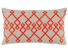 Chevron Orange Embroidery Lumbar Pillow  #interiors #quilts #homedecor #cozy #bedding #westport #duvets #interiordesign #Figlinensandhome #chic