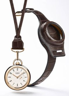 """With the movement inside a rose gold watch case, the Hermes """"In The Pocket"""" is an elegant pocket watch that can be converted into a w. Modern Pocket Watch, Hermes Watch, Latest Watches, Leather Jewelry, Leather Craft, Leather Working, Luxury Watches, Gold Watch, Apple Watch"""