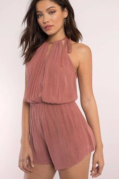 """Search """"Monica Terracotta Halter Romper"""" on Tobi.com! self tie neck keyhole cutout sleeveless tank plisse crinkled flowy elastic waist playsuit #ShopTobi #fashion #summer #spring #festival Music festival coachella vacation travel packing simple chic boho bohemian chic fashion style fashionable stylish comfy hot weather spring summer trendy tribal patterned shop buy cheap inexpensive ideas for women teens cute sexy edgy college outfit outfits"""