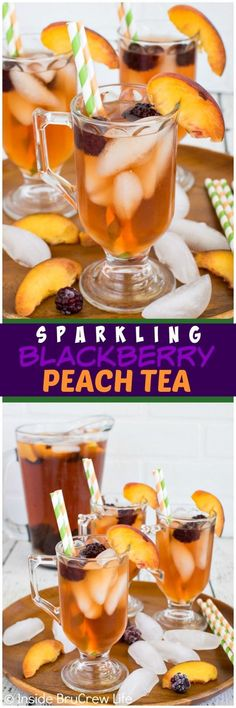 Sparkling Blackberry Peach Tea - this easy 2 ingredient punch is refreshing for a hot day. Great drink recipe!