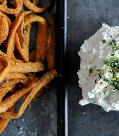 Garlic Butter Sweet Potato Fries with Creamy Feta Dip | How Sweet It Is