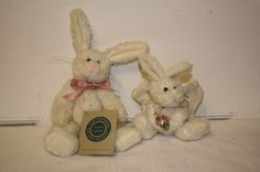 """Boyd's lot of 2 rabbit plush 10"""" from 1985 retired Investment collection with tag, & ornament 7"""" (with ears) from 1990 no tag **small hole in wing and right wing broken** ears movable & jointed $10"""