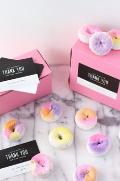 Use edible food spray to color block powder donuts and serve