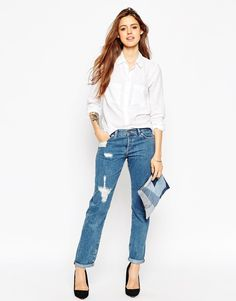 Image 4 of ASOS Brady Boyfriend Jeans In Cypress Midwash With Rips