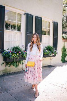 Gal Meets Glam April Flowers - Club Monaco sweater, Red Valentino skirt c/o, Chloe flats & Chanel bag