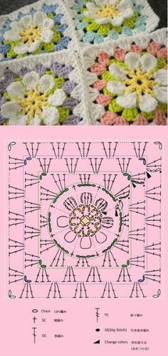 flower crochet patterns, granny square patterns and square p. flower crochet patterns, granny square patterns and square p… / crochet ideas and tips – Juxtap Beau Crochet, Crochet Diy, Crochet Motifs, Manta Crochet, Crochet Stitches Patterns, Crochet Designs, Crochet Ideas, Point Granny Au Crochet, Granny Square Crochet Pattern