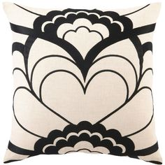 Trina Turk Deco Floral Black Embroidered Pillow ($90) ❤ liked on Polyvore