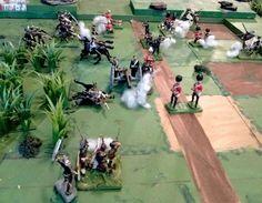 Britains, conversions, recasts, nonBritains in a Zulu War scenario wargame