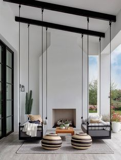 Here is some of my favorite inspiration for outdoor spaces with a modern farmhouse flair. Modern Farmhouse Back Porch - Black Hanging Swings - Modern Outdoor Fireplace - Black and White Back Porch - Home Decor - Home Design - DESIGN: Studio Life/Style Patio Interior, California Homes, California Room, California Bungalow, California Style, Outdoor Rooms, Outdoor Swings, Outdoor Seating, Modern Porch Swings