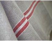 2 Yards of Vintage Stripe Border Red Linen, U1171