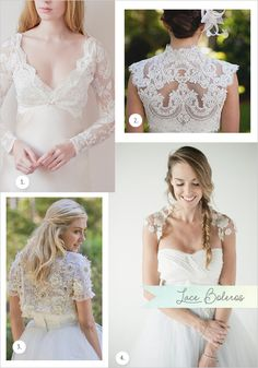 Lace Boleros: 1. French ace Ivory Bolero, 2. Wedding Bolero French Alencon Lace, 3. Cleo – Beaded Lace Bolero, 4. Jean- Lace Bolero on tull
