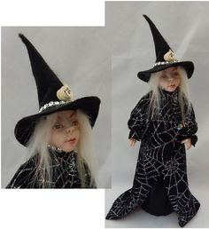 Halloween Witch Decoration or Tree Topper OOAK Art Doll New Holiday Decor #Handmade