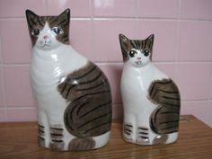 N s Gustin Pair Ceramic Sitting Tabby Cat Figures California Pottery | eBay