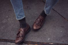 jeans style, masculine, boy style, tassel, loafer, brown leather shoes, socks, texture, fall, winter, schoolgirl style, prep from: Natalie Off Duty: Runaway Gypsy