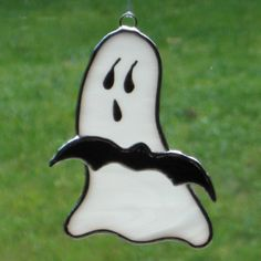 Happy Halloween Ghost and Bat Stained Glass Ornament by ByCoco, $12.50