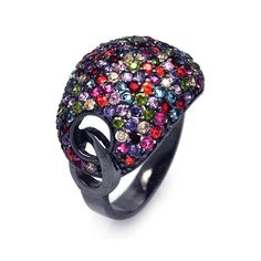 .925 Sterling Silver Black Rhodium Plated Multi Color Cubic Zirconia Dome Ring
