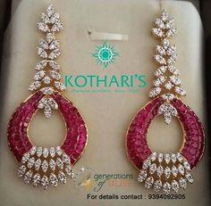 Ruby Earrings, Diamond Earrings, Diamond Jewelry, Gold Jewelry, Ruby Beads, Baby Jewelry, Teardrop Earrings, Unique Jewelry, Jewelry Design Earrings
