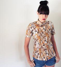 Buttonup cat shirt  women's short sleeve tailored by Minxshop, $140.00