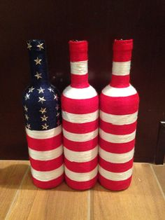 Wrapped Wine Bottle American Flag by WineInTwine on Etsy