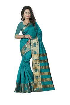 316d470287d4fa Shop this indian banarasi silk sarees sea green colored jacquard woven  printed work saree and get huge discount
