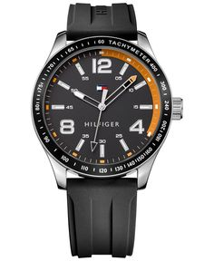 Useful meets appealing in this handsome watch by Tommy Hilfiger, sure to add an extra dash of style to whatever you're wearing. | Black rubber strap | Round stainless steel case, 44mm | Black dial wit