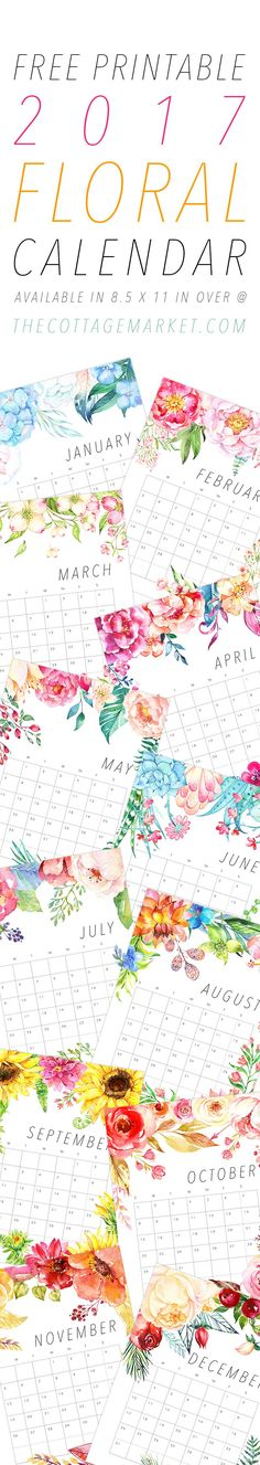 A Beautiful Free Printable 2017 Floral Calendar that you will enjoy all year round!