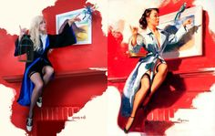 Kotaku cosplay regular Ginny Di returns here with a super cool tribute to Gil Elvgren's iconic pin-up art, giving the century illustrations a Harry Potter twist. Cosplay Harry Potter, La Saga Harry Potter, Harry Potter Pin, Theme Harry Potter, Harry Potter Characters, Pin Up Poses, Pin Up Photography, Gil Elvgren, Pin Up Art