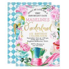 Alice In Onederland 1st Birthday Invitation 1st Birthday Invitations Girl, Tea Party Invitations, Pink Invitations, Girl First Birthday, First Birthday Parties, First Birthdays, Shower Invitations, Invites, Tea Party Birthday