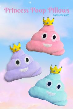 Meet the new princess #emojipillows – available in pink, purple and blue.