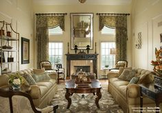 Love these for a 2 story window. How to Design Twenty Foot Ceiling Window Treatment.