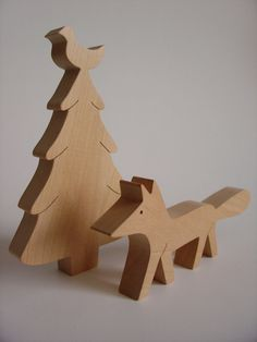 wooden toys - fox and tree
