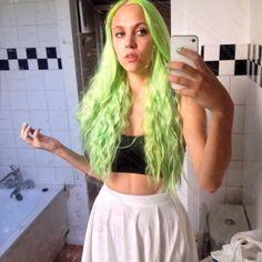 Silja wearing MANIC PANIC® Electric Lizard hair dye.