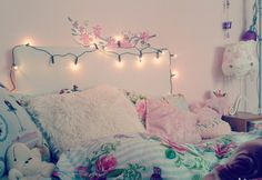 bed, light, and pillow