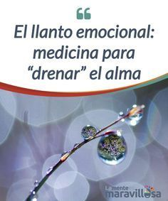 """El llanto emocional: medicina para """"drenar"""" el alma El único modo de #reiniciarnos, de drenar #tristezas, #frustraciones y tensiones es a través del llanto emocional. No dudes en favorecer este desahogo. #Psicología"""