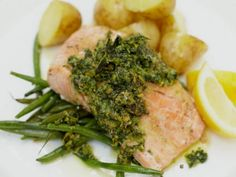 Jamie Oliver's salmon baked in a foil parcel with green beans and pesto
