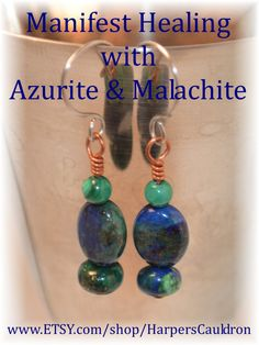 Azurite and natural Malachite, on Copper, and Hand-Made Stainless Steel Earwires - $6. I infuse my hand-made jewelry with the intention to heal and empower, then cleanse and charge it for you. Malachite is associated with the heart chakra. It helps to ground spiritual energies, and is protective.  It eases muscle cramps.  Azurite is a blue-green stone with veins of copper, associated with the throat chakra.  It helps arthritis, joints and the spine.