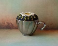 Handmade Felted Wool Cream & Yellowl Pin Cushion in Silver Glass Cup