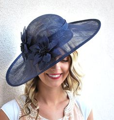 Navy Sinamay Derby Hat Womens Tea Party Hat Church Hat