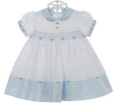 NEW Sarah Louise Vintage Style Blue and White Smocked Dress with Embroidered Rosebuds $65.00 #SmockedDress