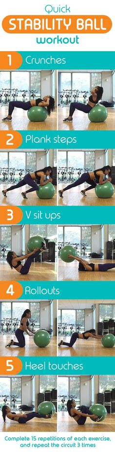 Strengthen your core with these 5 moves! Grab a stability ball and get moving.