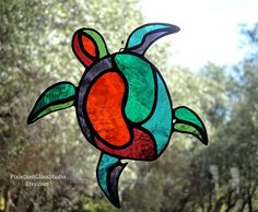 Stained Glass Suncatcher Abstract Sea Turtle in Vibrant