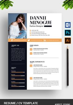 Modern Resume Template, Resume Template Free, Creative Resume Templates, Creative Resume Design, Creative Cv, Resume Ideas, Free Resume, Fashion Designer Resume, Fashion Resume