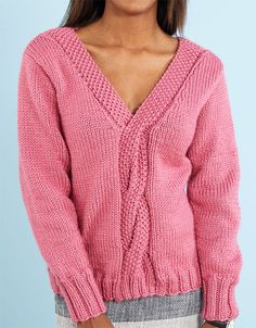 Free Knitting Pattern for Lovely Cable Sweater - Long sleeved pullover features . Free Knitting Pattern for Lovely Cable Sweater - Long sleeved pullover features a neckline that blends into a casual cab. Jumper Patterns, Sweater Knitting Patterns, Knitting Designs, Knit Patterns, Free Knitting, Cable Knitting, Quick Knits, Cable Knit Sweaters, Red Hearts