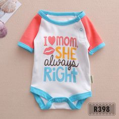 I love mom, she is always right  Pakaian bayi Baby clothes Jumper bayi Romper bayi Baby jumper Baju bayi Baby romper Baju anak Jumper Indonesia --------------------------------------- For more information: www.xsito-store.com --- Line : @rcb0969g --- BBM : 5B03BB9D --- Email : xsitostore@gmail.com --- Fb : xsito store