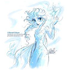 Elsa, Disney's Frozen sketch by DAVID GILSON, aka princekido on DeviantArt