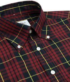 Brutus Trimfit - Oxblood/Black DM9 Check Short Sleeve Shirt - Limited Edition Dr. Martens MK9