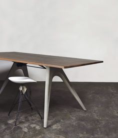 #DistrictEight | Inspired by bridge construction, the Kahn High Dining Table - Link | www.districteight.com Wood Furniture Store, Loft Furniture, Concrete Furniture, Wooden Furniture, Table Furniture, Furniture Design, Recycled Furniture, Furniture Ideas, Coffe Table